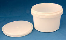 10 x 560ml White Plastic Tamper Proof Tubs/Containers with Lids