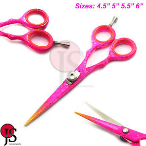 Pink Hair Cutting Scissors Barber Hairdressing Stylist Trimming Shears 4 Sizes