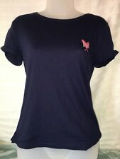 Victoria's Secret LOVE Graphic Short Sleeve T Shirt Navy Blue Extra Small XS NWT