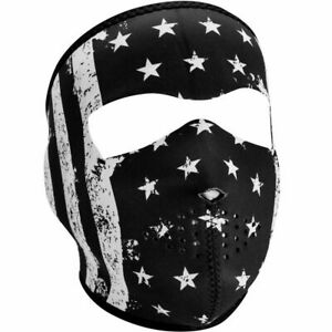Zan Headgear Small Kids B & W USA Flag Motorcycle Ski Full Face Neoprene Mask