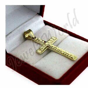 Mens Real 10K Yellow Gold Cross Pendant Diamond Cut Gold Crucifix Charm Nugget