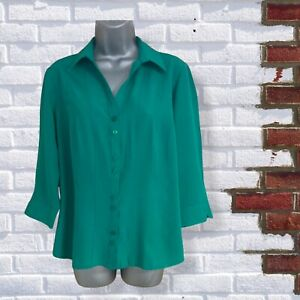 BHS - Womens UK 14 Green 3/4 Sleeve Buttoned Collared Shirt