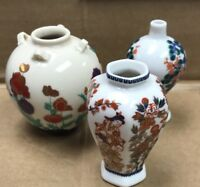 ANTIQUE JAPANESE MINIATURE CERAMIC PORCELAIN VASE Lot Of 3