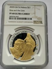 More details for 2020 1oz silver coin with gold gilt st helena una and the lion pf 69 graded