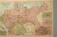 1908 Landkarte Deutsche Reich Niederlande Belgien Berlin Strassburg Metz Hanover
