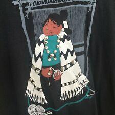 Native American Woman embellished Black T Shirt Vintage Lida Single Stitch L