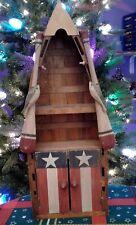 Shelf  Boat Wood Rustic Green, Blue, White Off And Red W/Stripes, Stars & Oars