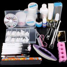 Pro Nail Art Acrylic Powder UV Gel Liquid Oil Tips Practice Tool Full Kit Set UK