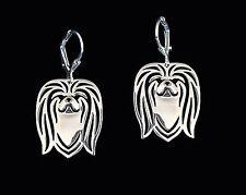 Pekingese Dog Earrings-Fashion Jewellery Silver Plated, Leverback Hook