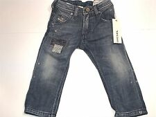 NEW Diesel Boys Toddler Reg Slim JEANS w/ PATCHES Pants 16x10 Sz: 9M RTL $175