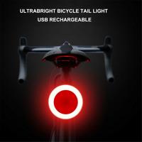 Waterproof Bicycle Bike LED USB Rechargeable Tail Light Smart Brake Rear Lamp UK