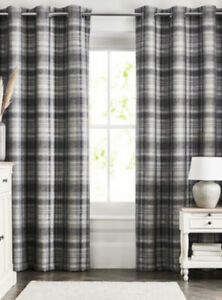 "NEXT Eyelet Curtains Ludlow Woven Check Pattern Grey 228x229cm 90"" x 90"""