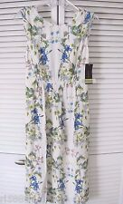 ZARA NEW FLORAL ECRU NAVY PRINTED MIDI DRESS WITH BACK KNOT SZ M $69.9 BLOGGERS