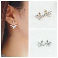Women 1pair Alloy And Rhinestone Leaf Ear Stud Earrings Jewelry Ornaments Gift