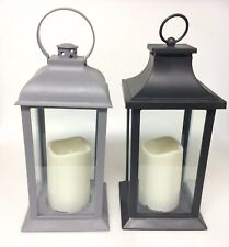 Decorative Lantern LED Pillar Candle Plastic Outdoor Indoor Lighting Set of 2