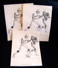 Three 1981 NFL Football New England Patriots Steve Nelson Shell Oil Prints