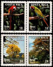 ✔️ COSTA RICA 1990 - UPAEP FAUNA BIRDS - MI. 1381/1384 PAIRS ** MNH OG [101.036]