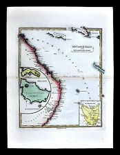 1839 Bell Map - New South Wales Coast Australia Van Dieman's Land Norfolk Island