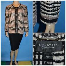 ST JOHN Couture Beige Cream Black Suit JACKET XL 14 16 Suit Blazer Trims