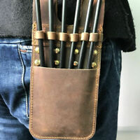 6Arrows Cow Leather Archery Arrow Quiver Pocket Holder Pouch Bag Side Belt Waist