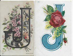 LOT 2 GENUINE EARLY 1900'S  EDWARDIAN VINTAGE GREETING POSTCARD,LETTER J,1904