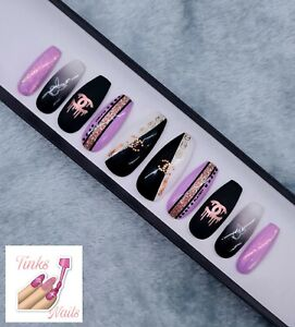 Hand Painted False Nails Black White Pink Fashion inspired Bunny Long Coffin