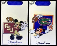 Disney Parks 2 Pin lot Mickey Football FSU + Gators - NEW