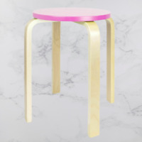 Kids Wooden Stool Home Kitchen Playroom Bedroom Child Chair Seat Seating - Pink