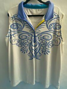 Nancy Lopez Size 2X Sleeveless Golf Shirt Blue White Loose Fit