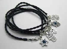 20 Mixed Kabbalah Hamsa Hand Charms Black Leatheroid Braided String Bracelets