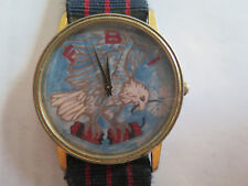 FBI LOGO on WRIST WATCH with USA EAGLE LANDING PICTURED c1980s