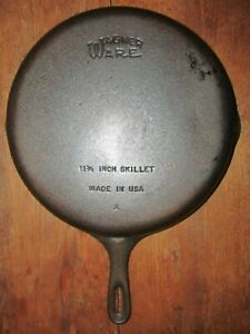 "Vintage Wagner Ware Large #10 Cast Iron Skillet 11 3/4"" Frying Pan Nice!"