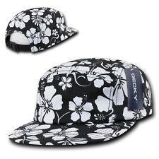 Black & White Floral Hawaiian 5 Panel Cotton Racer Jockey Flat Bill Hat Cap Hats