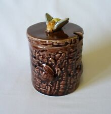 Vintage  Brown Honey Pot With Applied Bee Finial