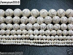 White Howlite Turquoise Gemstone Round Beads 15'' 3mm 4mm 6mm 8mm 10mm 12mm 14mm