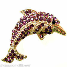 Crystal Fish Pin Brooch Bh7348 Navachi Porpoise Dolphin 18K Gp Purple