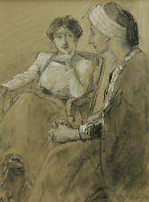 ANTOINE CALBET DESSIN PORTRAIT COUPLE ORIENTAL ILLUSTRATION ORIENTALISME TABLEAU