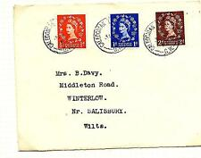 1952 (31-8-54) /2d,1d,2d CALEDONIAN TPO UP FIRST DAY COVERs TO SALISBURY