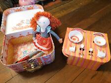 Mackenzie Childs Mealtime for Maddie & Me Plush rag doll & tea bowl mug set tote