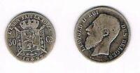 BELGIQUE 50 centimes Cs 1899, LEOPOLD II ROI DES BELGES, argent silver silber