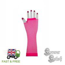 Sexy Halloween Long Pink Fishnet Gloves Retro Raver Fancy Dress Costume Fetish