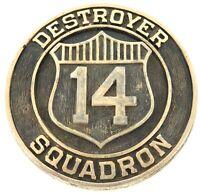 ".SCARCE US NAVY ""DESTROYER SQUADRON 14"" LARGE BRONZE / BRASS PLAQUE."