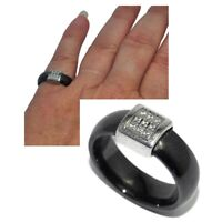 Bague moderne en céramique noire motif acier inoxydable zirconium T 50 bijou