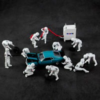 1:43 Mini Scene Figure Racing Car Repair Station Refueling Tires Model Toys