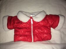 Build a Bear Red Puffy Jacket White Trim 'Holly's'