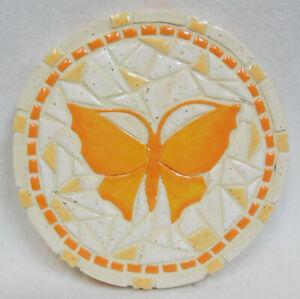 "Butterfly Mosaic Art, Handmade Ceramic Tile Mosaic Wall Decor / Trivet / 7"" dia."