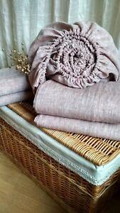 Set Sheets Linen/Flat Top Sheet/Fitted Sheet/2 Pillowcases zippered/Gray natural