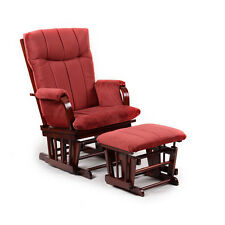 Artiva Usa Home Deluxe Marsala Super Soft Microfiber and Cherry Wood Glider set