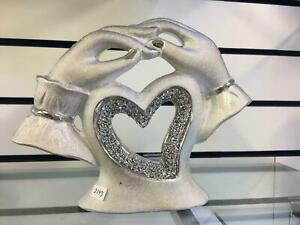 SILVER HEART IN 2 HANDS SPARKLE BLING ORNAMENT CRUSHED DIAMOND NEW DESIGN