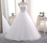 UK Cheap White/Ivory Sleeveless A-Line Lace Wedding Dress Bridal Gown Size 6-16